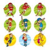Cartoon kids Sport set Vector Clip Art. Illustrations Royalty Free Stock Photo