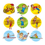 Cartoon kids Sport set Vector Clip Art Royalty Free Stock Photos