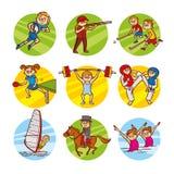 Cartoon kids Sport set Vector Clip Art Stock Image