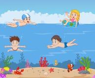 Cartoon kids swimming in the tropical ocean vector illustration