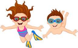 Cartoon kids swimming underwater Stock Photo
