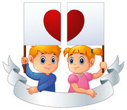 Cartoon kids together holding heart signpost and silver ribbon Stock Photos
