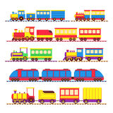 Cartoon kids toy trains, locomotive and wagons vector set Royalty Free Stock Photography