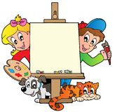 Cartoon Kids With Painting Canvas Stock Image