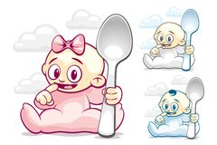 Cartoon Kids With Spoons Stock Image
