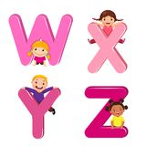 Cartoon kids with WXYZ letters vector illustration