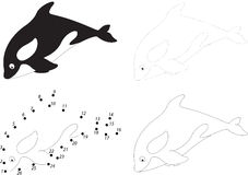 Cartoon killer whale. Dot to dot game for kids. Cartoon killer whale. Dot to dot educational game for kids Royalty Free Stock Photography