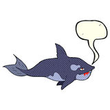 Cartoon killer whale with speech bubble Royalty Free Stock Image