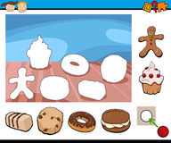 Cartoon kindergarten game. Cartoon Illustration of Educational Task for Preschool Children with Sweets and Cookies Royalty Free Stock Photography
