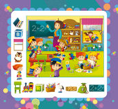 Cartoon kindergarten scene - fun and play Royalty Free Stock Photos