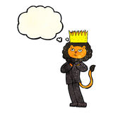 cartoon king of the beasts with thought bubble Royalty Free Stock Image