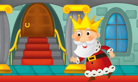 Cartoon king in the castle Royalty Free Stock Photography