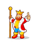 Cartoon King. Funny cartoon character with king costume holding staff. Vector illustration isolated on a white background Royalty Free Stock Photo