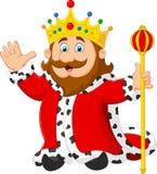 Cartoon king holding a golden scepter Stock Photos