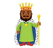 Cartoon king holding a golden scepter. Royalty Free Stock Photography