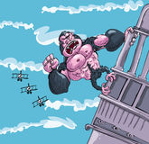 Cartoon King Kong hanging on Royalty Free Stock Photos