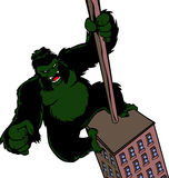 Cartoon King Kong hanging on a skyscraper Stock Images