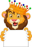 Cartoon king lion holding blank sign Stock Image