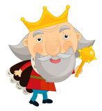 Cartoon king old - standing - isolated Royalty Free Stock Photos