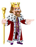Cartoon King Pointing Royalty Free Stock Images