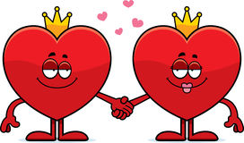 Cartoon King and Queen of Hearts. A cartoon illustration of the king and queen of hearts holding hands Stock Image