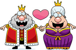 Cartoon King and Queen Love. A cartoon illustration of a king and queen holding hands and in love Stock Photo