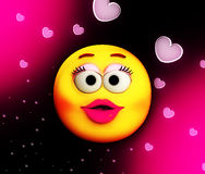 Cartoon Kiss Of Love. Conceptual image showing a cartoon female face surrounded by hearts Royalty Free Stock Image