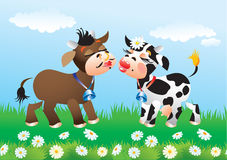 Cartoon kissing cows in love. On green field Stock Photo