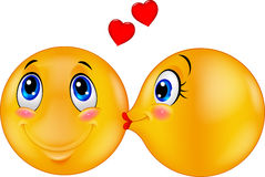 Cartoon Kissing emoticon Royalty Free Stock Image
