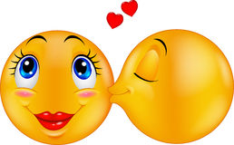 Cartoon Kissing emoticon Royalty Free Stock Photo
