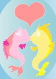 Cartoon kissing fishes. Two cartoon fishes are kissing deeply Stock Images