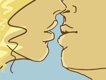 Cartoon Kissing Lovers, Closeup. Colorful Vector Sketch. Kissing Lovers, Closeup Of Lower Parts Of Faces. Cartoon Colorful Vector Sketch. Man And Wiman. Comics Royalty Free Stock Images