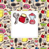 Cartoon kitchen card. Drawing Royalty Free Stock Photography