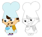 Cartoon kitchen chef - isolated - with coloring page Stock Photo