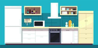 Cartoon kitchen interior with fridge, oven and other home cooking appliances vector illustration. Kitchen and stove interior, cooking and fridge domestic vector illustration