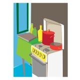 Cartoon kitchen interior Stock Photo