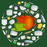 Cartoon kitchen utensil set, collection of orange teepot and green cup with saucer vector illustration. Kitchenware icons vector set. Cartoon kitchen utensil vector illustration