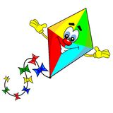 A cartoon kite. With smiling face on white background Stock Photos