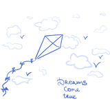 Cartoon kite and dreams come true. The kite flying in the sky with the phrase dreams come true Stock Image