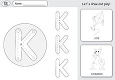 Cartoon kite and kangaroo. Alphabet tracing worksheet: writing A Royalty Free Stock Photo