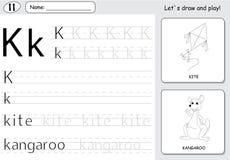 Cartoon kite and kangaroo. Alphabet tracing worksheet: writing A Stock Image