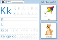Cartoon kite and kangaroo. Alphabet tracing worksheet. Writing A-Z, coloring book and educational game for kids Stock Images