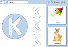 Cartoon kite and kangaroo. Alphabet tracing worksheet. Writing A-Z, coloring book and educational game for kids Stock Image