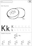 Cartoon kite and kiwi. Alphabet tracing worksheet: writing A-Z a Royalty Free Stock Images