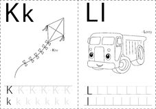 Cartoon kite and lorry. Alphabet tracing worksheet: writing A-Z Stock Photography