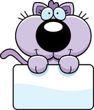 Cartoon Kitten Sign. A cartoon illustration of a kitten with a white sign Stock Photos
