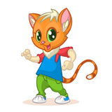 Cartoon kitty dancing. Vector illustration of happy cat dancing. Disco Royalty Free Stock Photography