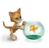 Cartoon Kitty with Goldfish - includes clipping path. 3D render of a cartoon kitty scaring a goldfish royalty free illustration