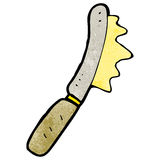 Cartoon knife spreading butter Royalty Free Stock Image