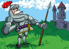 Cartoon knight in armour with a spear Stock Photography